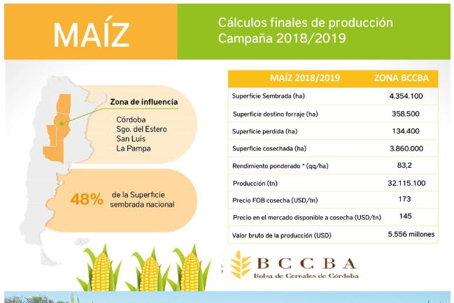 Maíz en Córdoba campaña 18-19: unas 358 mil ha fueron para forraje, un 9% de la siembra