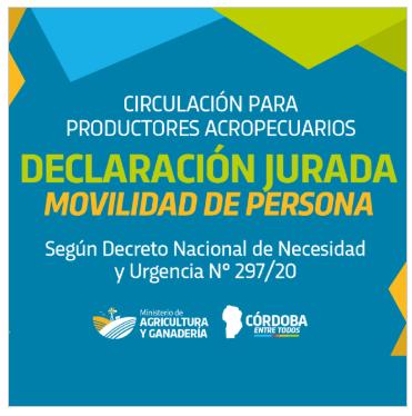 En Córdoba, está disponible formulario de circulación para actividad agropecuaria