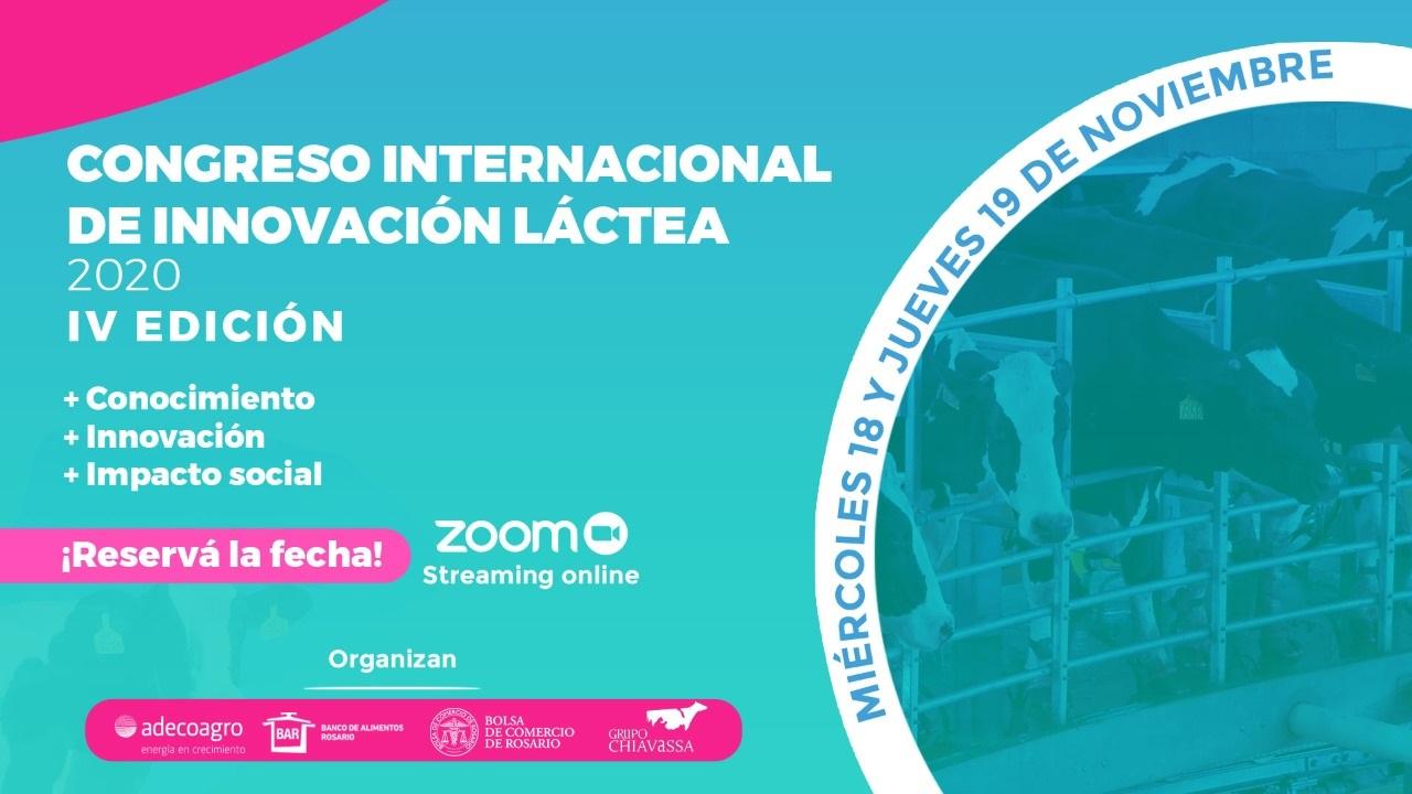 Se realizará el Congreso Internacional de Innovación Láctea online el 18 al 19 de noviembre